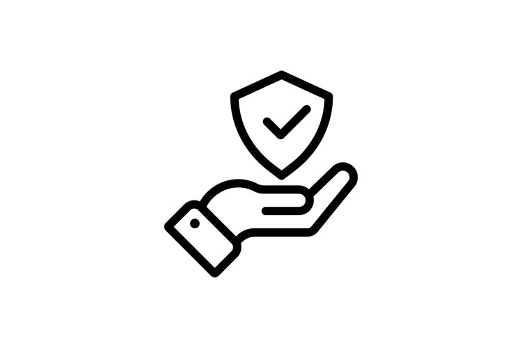 Protection icon in hand. Shield icon. Security icon. Safety