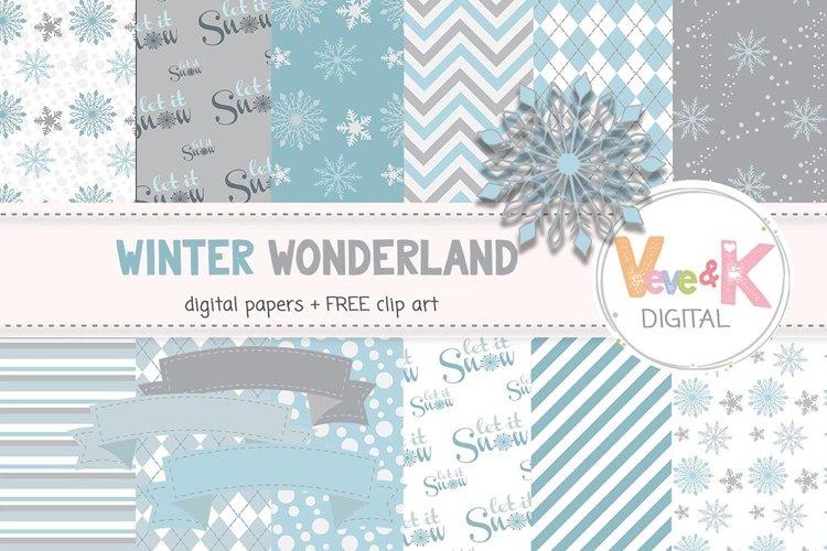 Snowflakes Clip Art, Snowflake Digital Papers, Winter Wonderland, Winter Digital Papers, Instant Download Scrapbooking Winter