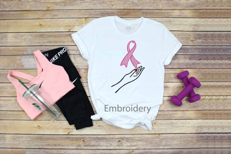 Embroidery Ribbon Breast Cancer Survivor Pink butterfly hand example image 1