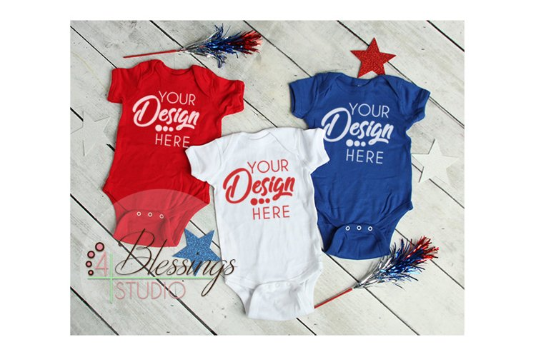 Baby Mockup Red White Blue Shirts Mock Up Patriotic Flat Lay
