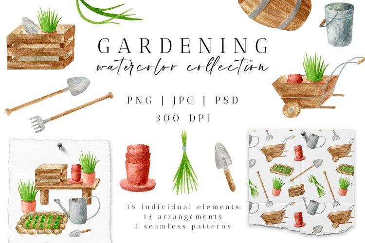 Gardening Watercolor Clipart. Spring Garden Tools PNG Set