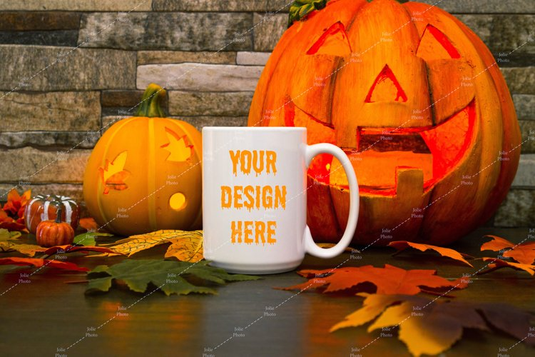 Mug Mockup Halloween 15 Oz Blank White Coffee Cup example image 1