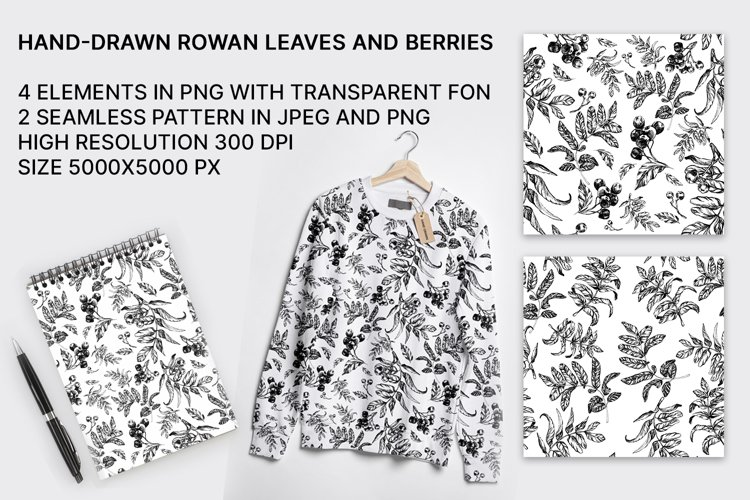 Hand-drawn rowan seamless patterns with leaves and berries example image 1