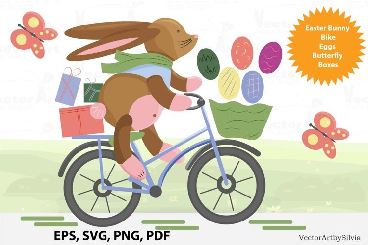 Easter Bunny with Bicycle- Cut File example image 1