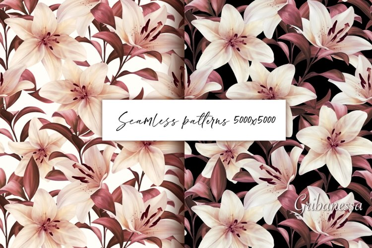 Lilies. Seamless patterns example image 1