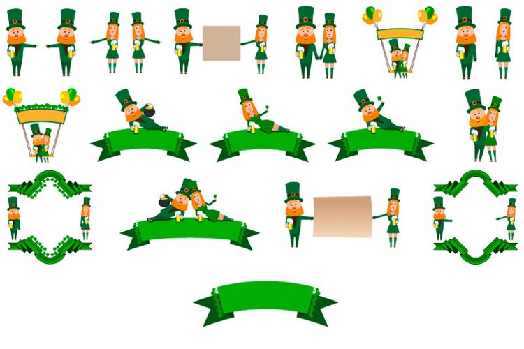Set for the design of the holiday of St. Patrick leprechaun example image 1