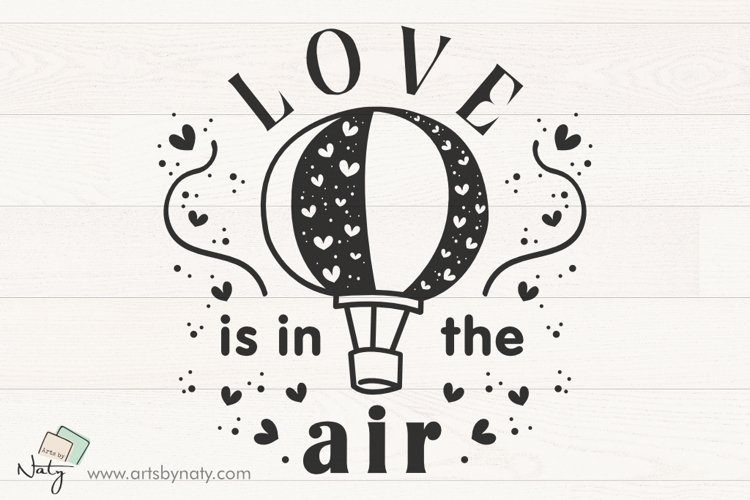 Love is in the air SVG illustration quote.