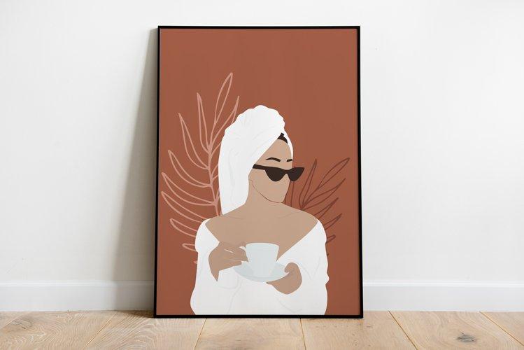 Woman Wearing Bathrobe with Coffee Art Print, Modern Female
