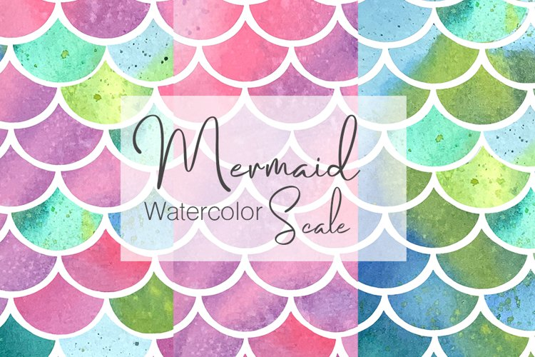 Watercolor Mermaid Scale Pattern example image 1