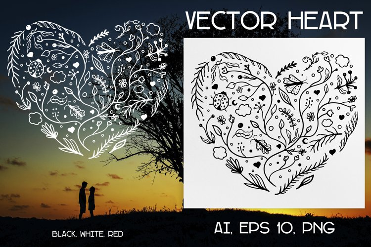 Vector doodle floral Heart Ai, EPS, PNG. example