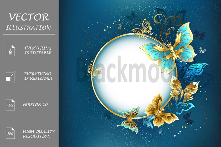Round Banner with Gold Butterflies example image 1
