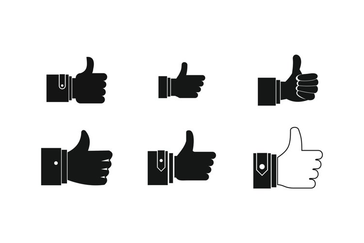 Thumb up icon set, simple style example image 1