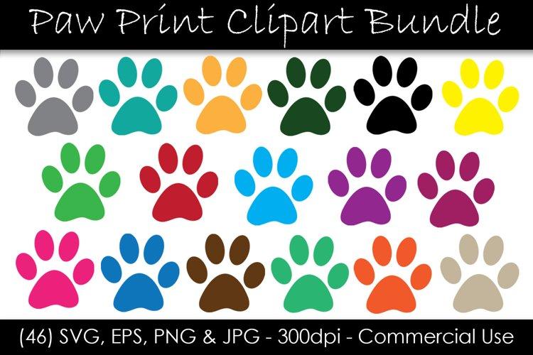 Paw Print SVG Bundle - Color Paw Print Clip Art example image 1