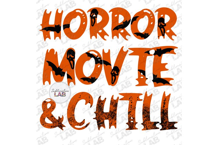 Horror Movie & Chill Halloween Sublimation Design ScaryMovie example image 1