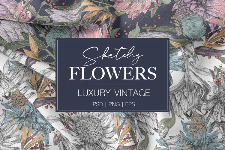 Luxury Sketchy Floral Vintage