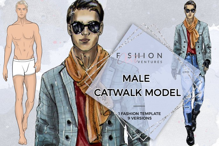 Male Catwalk Model- Fashion Croqui