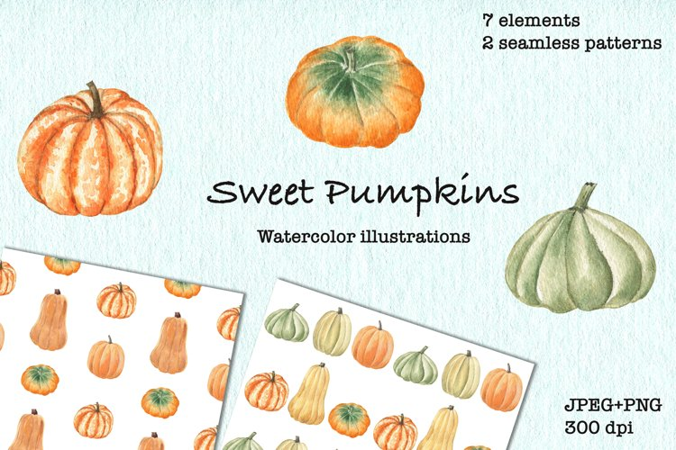Sweet Pumpkins. Fall Watercolor Clipart. JPEG, PNG example image 1