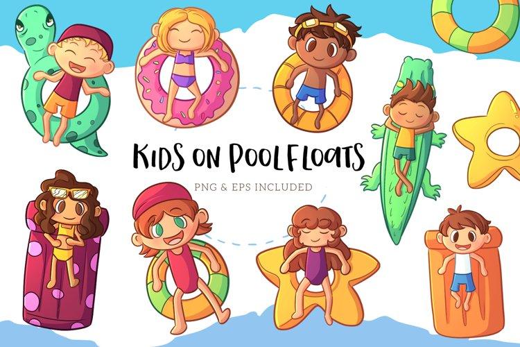 Kids on Pool Floats Summer Illustrations