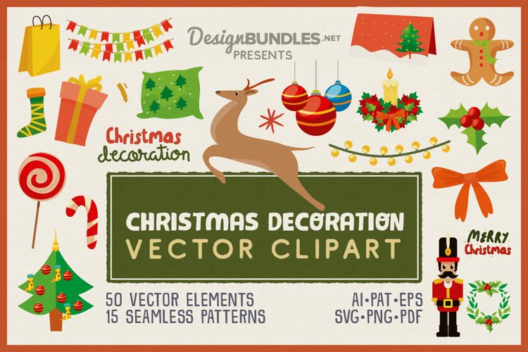Christmas Decoration Vector Clipart Pack example image 1
