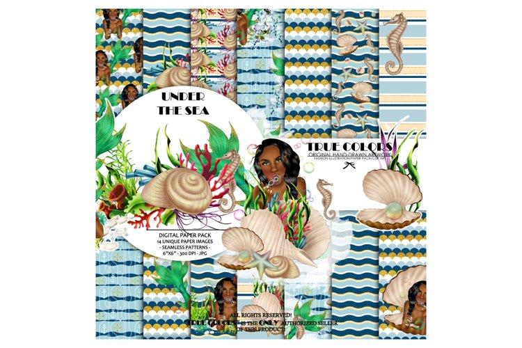 African American Mermaid Digital Paper Black Beautiful example image 1