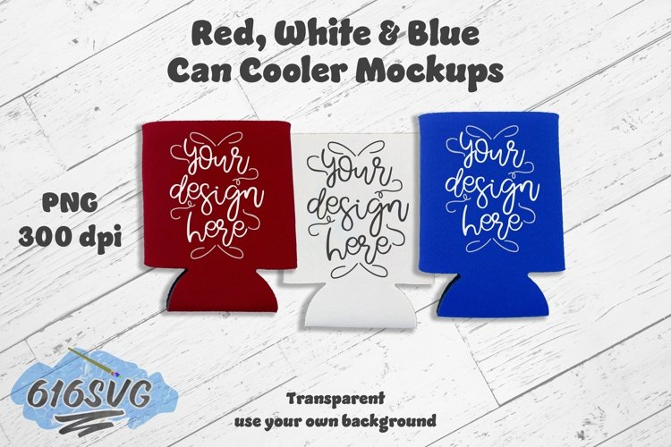Red, White and Blue Can Cooler Mockup PNG