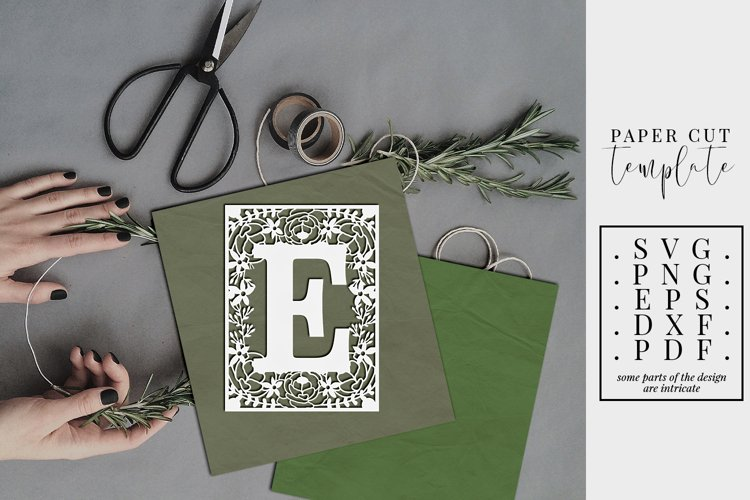 Floral frame letter E, single initial paper cut, wedding SVG example image 1