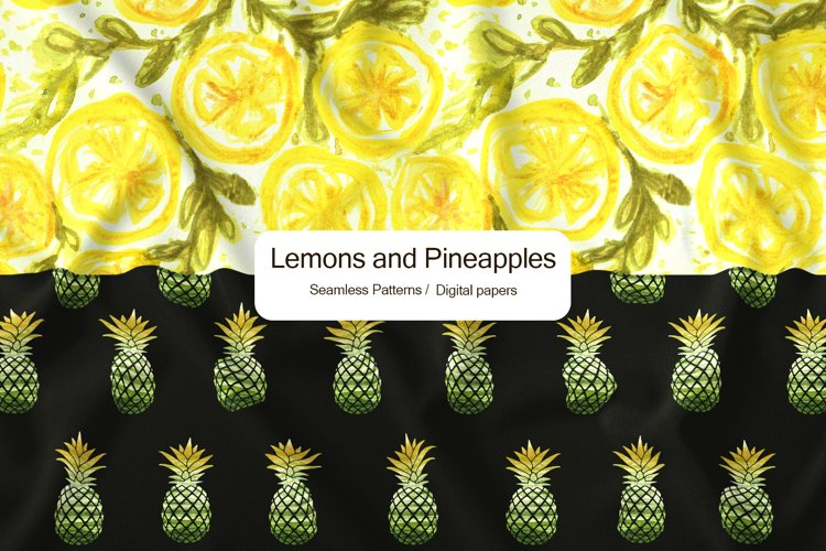 Watercolor lemons and pineapples seamless pattern,
