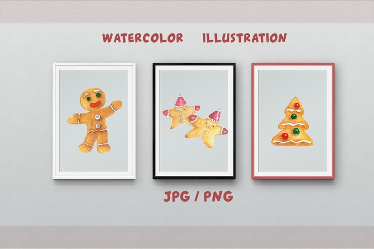 Gingerbread Clipart Sublimation design Watercolor PNG JPG example image 1