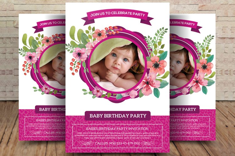 Baby Birthday Party Flyer example image 1