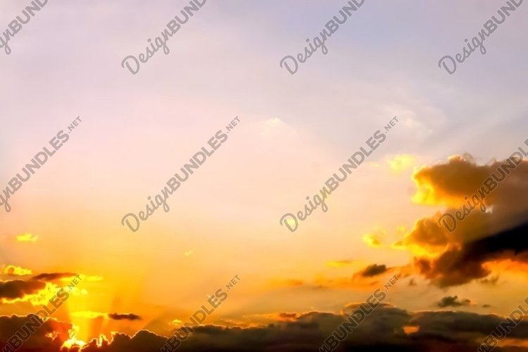 Colorful sunset sky panorama in high resolution example image 1