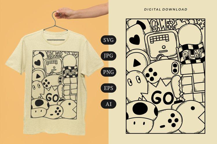 Gamer Doodle T-shirt   SVG example image 1