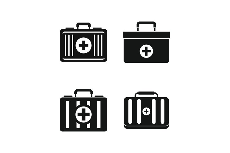 First aid kit icon set, simple style example image 1