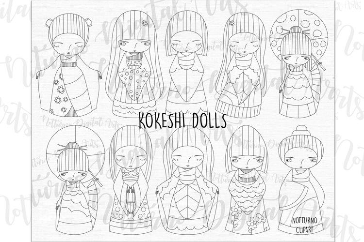 SVG Kokeshi Dolls, eps, png and jpeg format. Vector Kokeshi example image 1