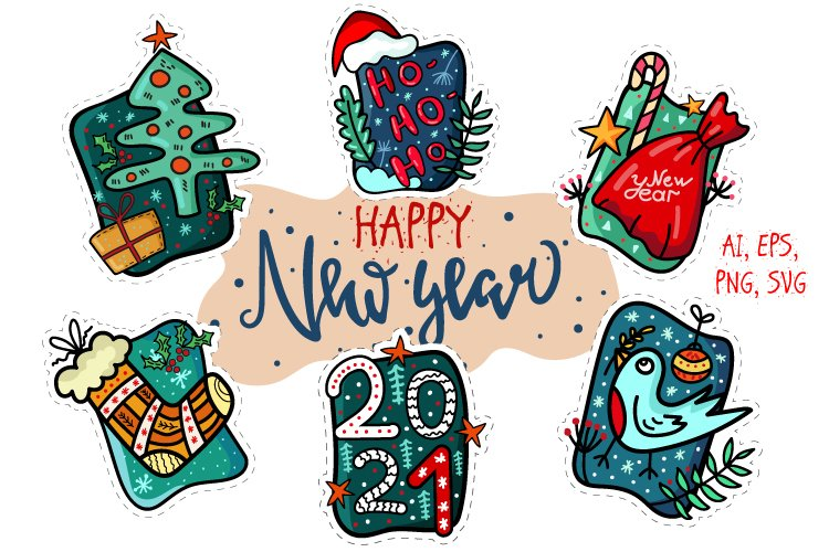 New Year Stickers Set example image 1