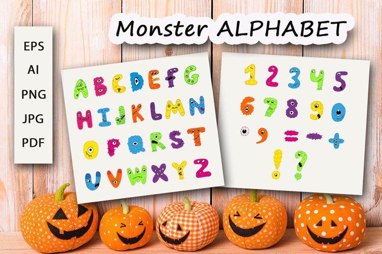 Monster Alphabet clipart set, Halloween