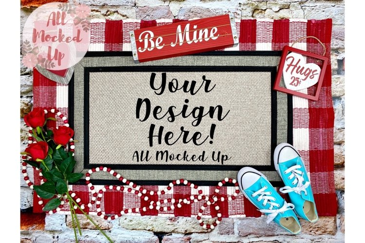 Sublimation Door Mat Mock Up Valentines Theme 1/21