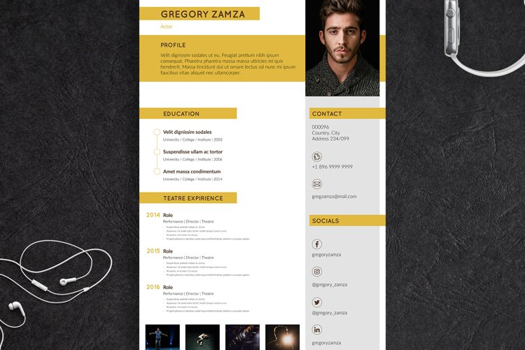 2 Actor Indesign Resume Templates example image 1