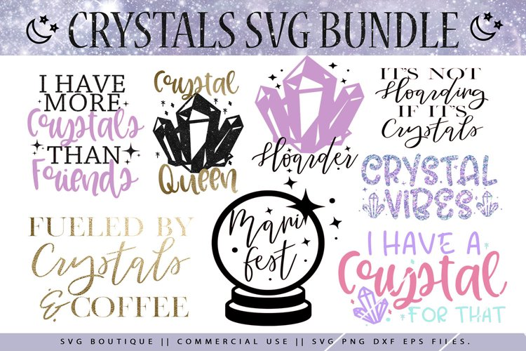 Crystals Magic Boho SVG Bundle For Crafters example image 1