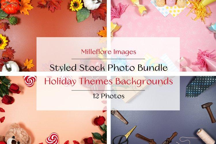 12 Holiday Framed Border Background Flatlay Photos Bundle
