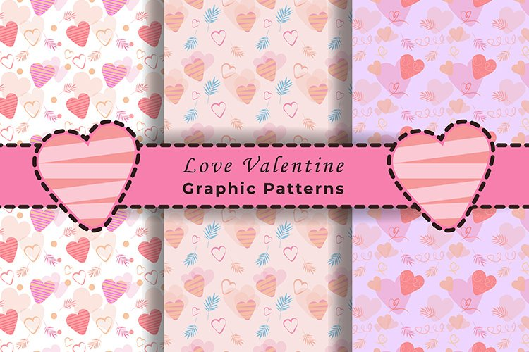 Love Valentine Seamless Graphic Patterns Full Pink