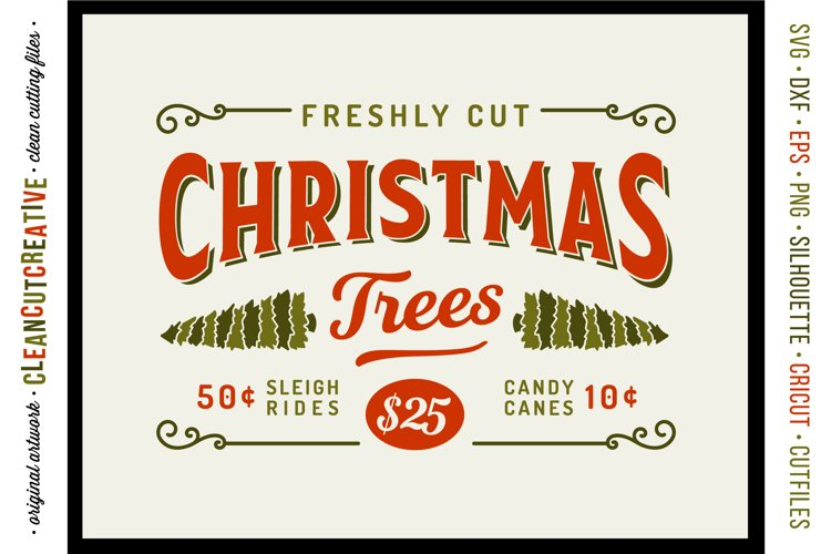 Freshly Cut Christmas Trees - Rustic Farm Wood Sign SVG file example image 1
