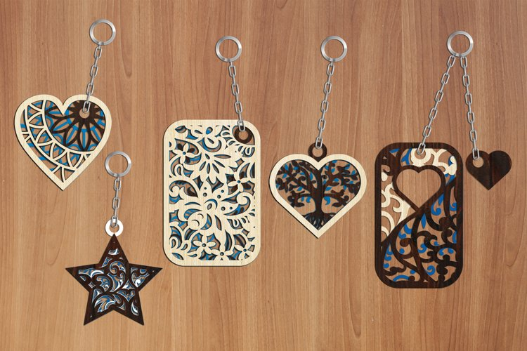 Multilayer Cut File 5 Keychains Bundle example