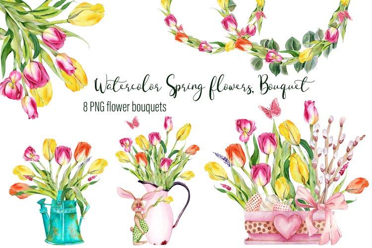 Watercolor Spring flowers Bouquet