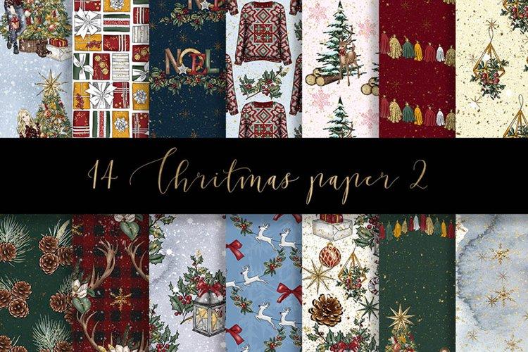 Christmas digital paper pack example image 1