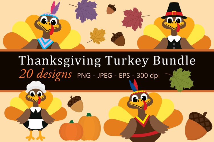 Thanksgiving Turkey Bundle Clipart, Fall, PNG, JPEG, EPS example image 1