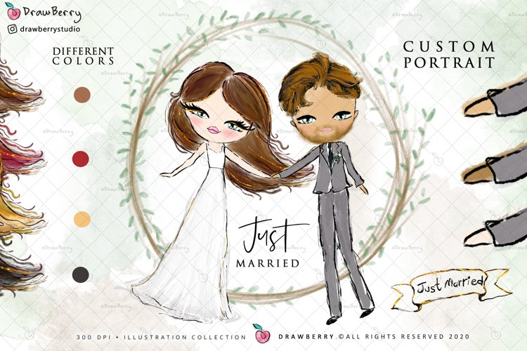 Wedding Clipart Bride & Groom PNG | Drawberry CP017 example image 1