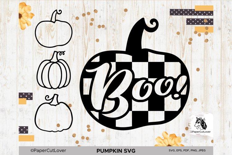 Plaid Pumpkin SVG Pumpkin Boo SVG Pumpkin Outline Checkered example image 1