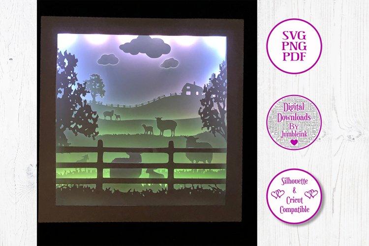 Sheep in the Fields - 3D Paper Cut Template Light Box