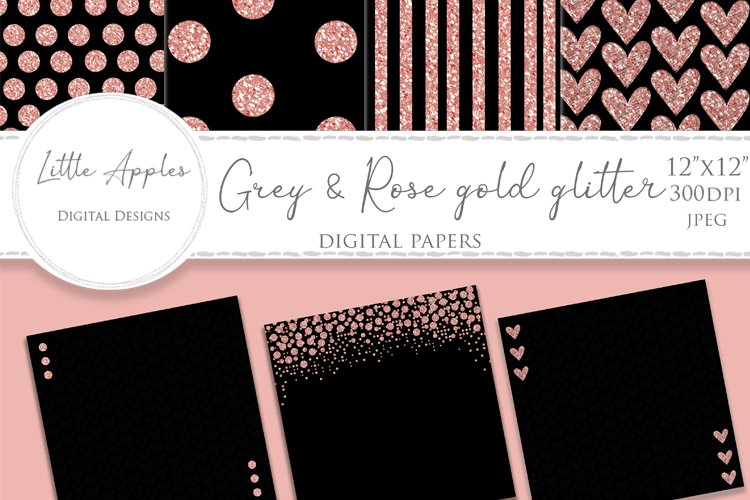 Digital Papers - Scrapbooking - black & rose gold glitter example image 1