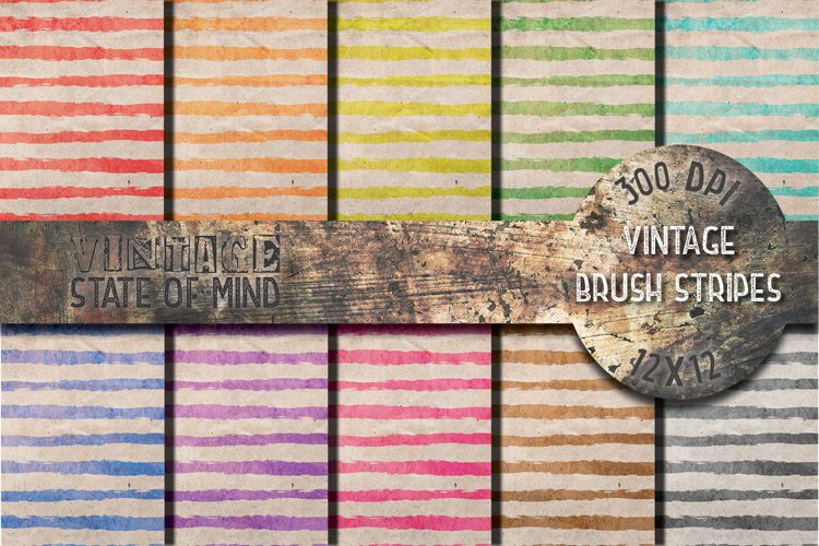 Vintage Brush Stripes Digital Papers example image 1